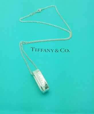 Tiffany & Co 1837 Silver Oval Loop Pendant 18 Inches chain Necklace Hallmarked!