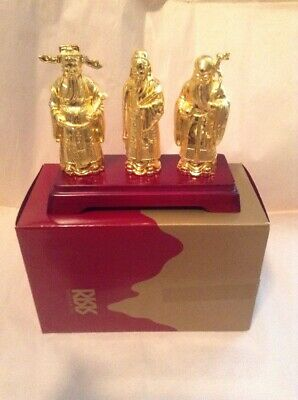 "Risis Singapore 3 Deities Set FU LU Shou 4"" Plated In .999 Gold"