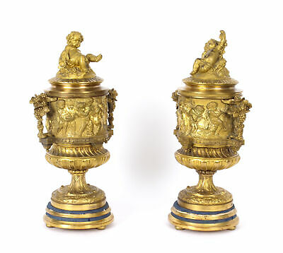 Antique French Pair Two-Tone Gilt Bronze Lidded Urns with Cherub Finials 19th C