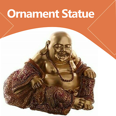 Chinese Laughing Fat Buddha Figurine Ornament Statue Brown Gold Effect 12cm New