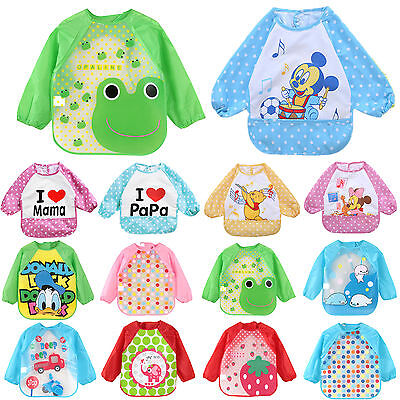 Baby Kids Toddler Feeding Bibs Long Sleeve Plastic Burp Smock Apron Cartoon Cute