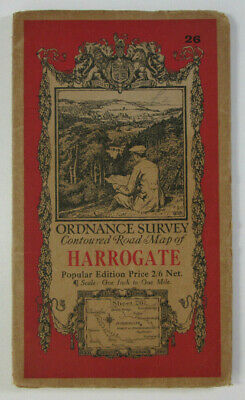 1930 Old Vintage OS Ordnance Survey One-Inch Popular Edition Map 26 Harrogate