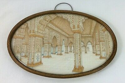 Antique 19Th Century Indian Islamic Miniature Painting Of Palace Mosque Interior