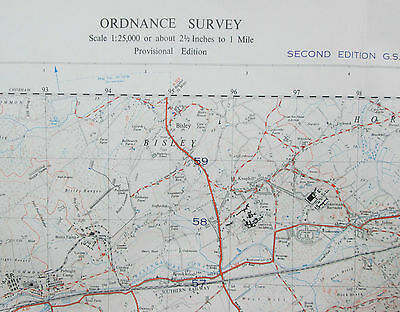 Old 1950 OS Ordnance Survey 1:25000 First Series Map SU95 Pirbright War Office