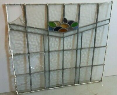 Large Original Vintage Stained Glass Panel Lead Window Antique