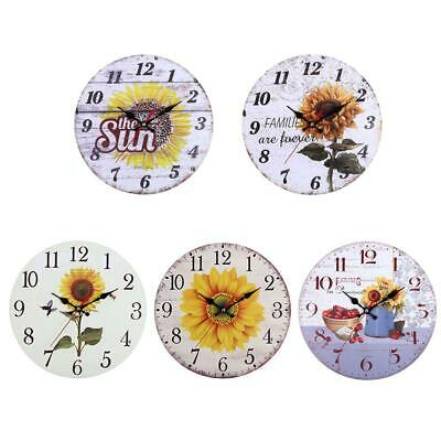 Wood Wall Clock Shabby Chic Style Rustic modern Antique Kitchen Home Decor TN2F