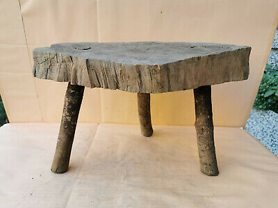 OLD ANTIQUE PRIMITIVE WOODEN 3 LEGGED STOOL MASSIVE CHAIR TRIPOD FURNITURE 19th