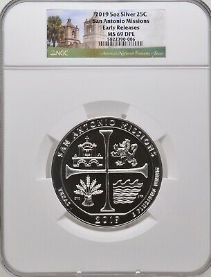 2019 5oz SILVER 25C San Antonio Missions NGC MS 69 DPL Early Releases must see!