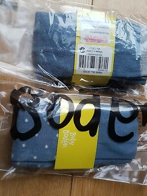 BABY MINI BODEN  2 Tights Egg Blue White Dots BNWT S 2-3 yrs NEW