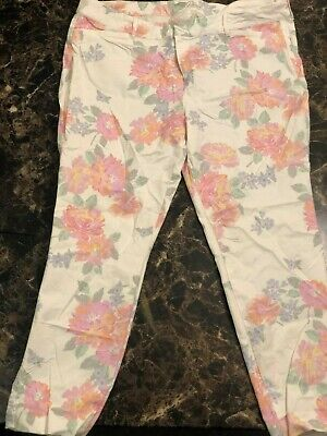 old navy pixie womens pants size 18 white floral