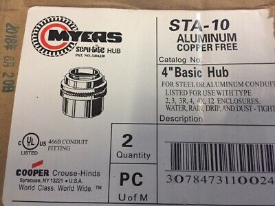 "(2 Pack) Cooper Crouse-Hinds STA-10 Conduit Hub 4"" Insulated Aluminum (NEW)"