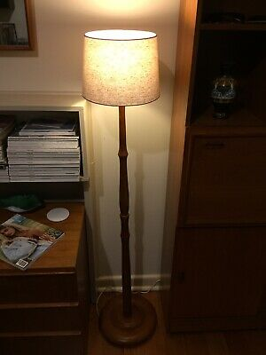 Retro Vintage timber side standard lamp teak look round base
