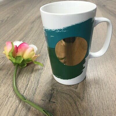 Starbucks Coffee Mug 2014 16oz Green Gold Teal EUC