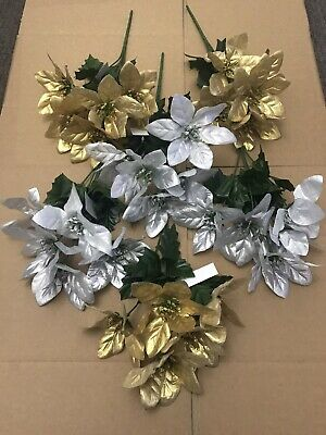6 X Artificial POINSETTIA Bunches Fake Christmas Flowers Wreath Red Silver Gold