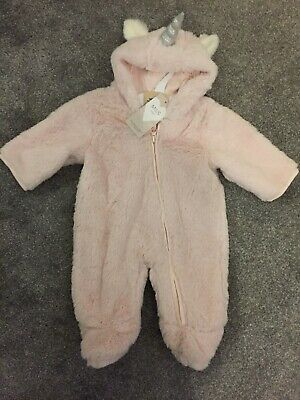 M&S Marks And Spencer Baby Girls Unicorn Coat Snowsuit All In One Pink Newborn