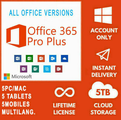 Microsoft Office 365 Pro Plus 2019 | Account for 5 Devices PC | 5TB | Lifetime