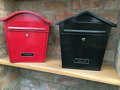 Wall Mounted Post Box Strong Steel Galvanised Powder Coated Four Colour Choice *