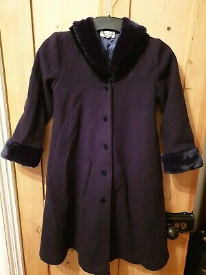 Sarah Louise Girls Navy Blue Long Coat -  Age 8 Years - In very good condition