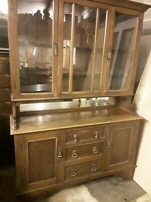 Vintage/Antique Oak Dresser/Cupboard/Bookcase Glazed Doors - Attractive Quality