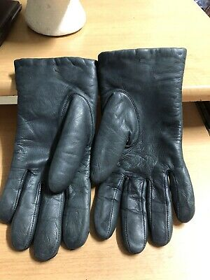 Wonderfit by Isotoner Women M Navy Leather Gloves Lined ARIS 115