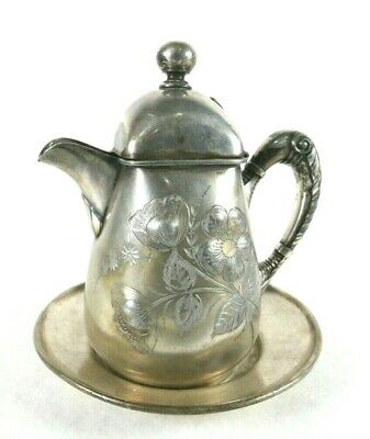 Vintage Ornate Wilcox Silver Co Quadruple Plated Milk/Creamer Pitcher and Saucer