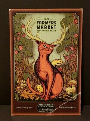 Hope FARMER'S MARKET Postcard East Austin Texas Orange Cat w/ antlers White Mice
