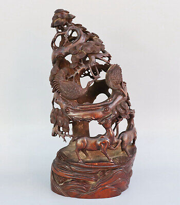 Chinese Exquisite Hand-carved Crane deer Carving bamboo statue