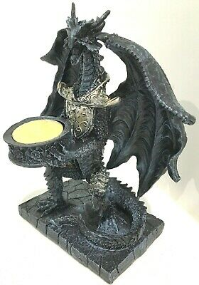 Dragon Tealight Candle Holder Statue Fantasy Gothic Figurine  #2