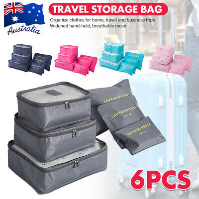1x 6in1 Travel Storage Bag Set Luggage Organiser Travel Pouches Packing Cubes AU