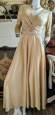 Vintage 1960-70s Gold Gown With Beaded Belt (M)