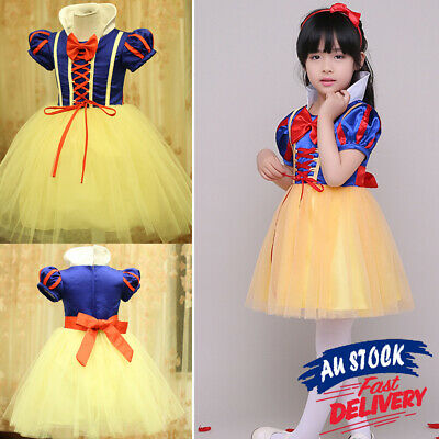 Princess Girl Kid Gown Dress Cinderella Costume Belle Frozen Party Child Dresses