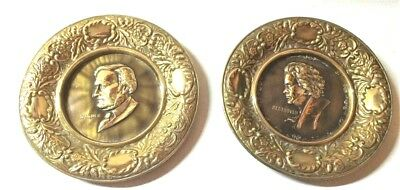 Vintage Brass Wall Plates Made in England Beethoven Wagner Faces Set of 2