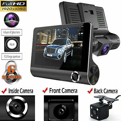 "Car DVR 4""Dual Lens Dash Cam Front and Rear Video Recorder Camera G-sensor B4H3T"
