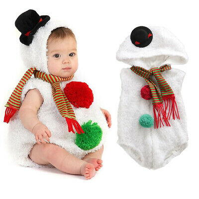 AU Christmas Newborn Infant Baby Girl Boy Snowman Cosplay Costume Romper Outfit