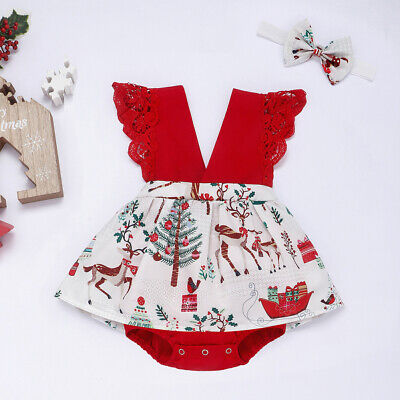 AU My First Christmas Infant Baby Girl Clothes Lace Romper Dress+Headband Outfit