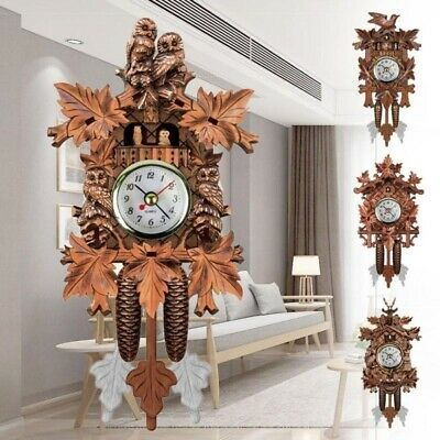 Vintage Bird Pendulum Hanging Wood Living Room Decorative Wall Clock Cuckoo UK