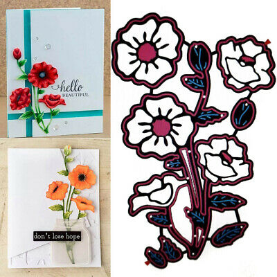 Remembrance Poppy Flower Metal Cutting Dies Stencil DIY Scrapbooking Craft Tool