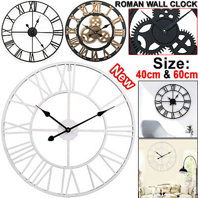 40/60cm Large Outdoor Garden Wall Clock Metal Roman Numeral Round Face Black UK