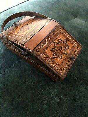 Antique Victorian Tunbridge Ware Micro Mosaic Floral Sewing Box