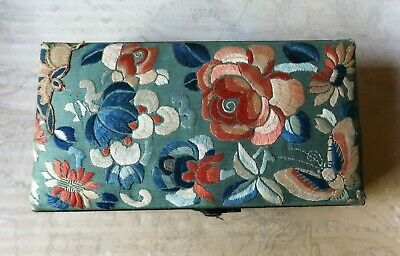 Vintage Box Covered In Antique Chinese Hand Embroidered Silk
