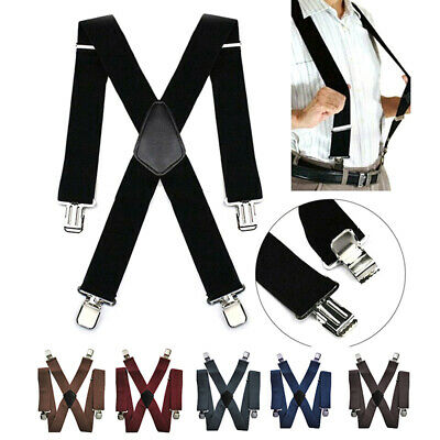 50mm Mens Braces with 4 Clips Extra Wide X-Shape Pants Strong Misc.