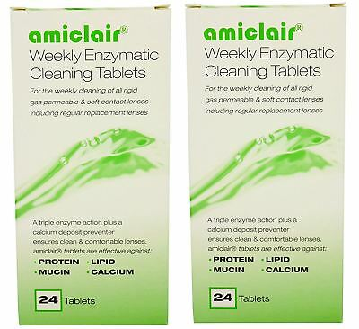 Amiclair Enzyme Protein Remover Cleaning Tablets (24 Pack X2 = 48 Tablets)