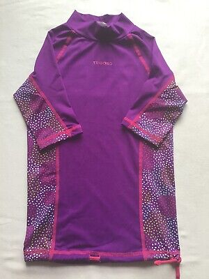 Girls Age 5-6 Years Swim Shirt Tribord Purple Spots Design