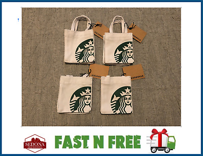Starbucks White Mini Canvas Tote Bag / Gift Card Holder - Brand New with Tag