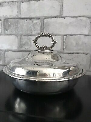 Antique Victorian Superior English Silver Plated Serving Dish Tureen with Lid 👌