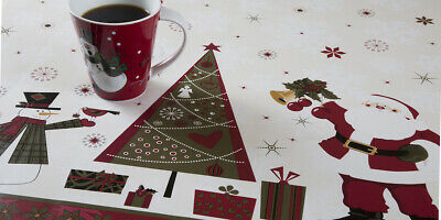 Wipe Clean PVC Vinyl Oilcloth White & Red Snowman & Xmas Tree table Cover