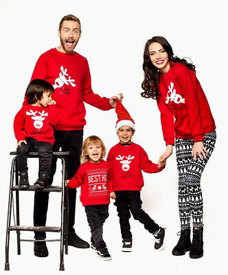 Family Matching Adult Kid Xmas Christmas Sweater Sweatshirt Pullover Tops Outfit