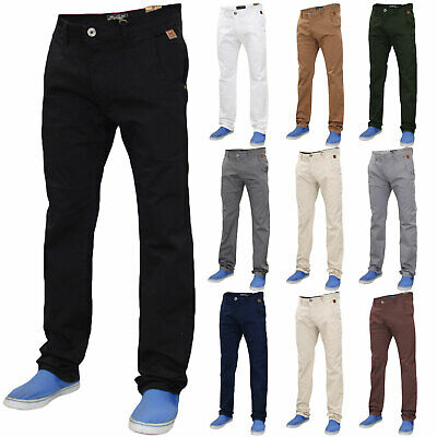 Mens Chino Jeans Regular Fit Trousers Cotton Stretch Casual Pants Sizes 32-40