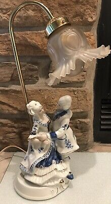 Victorian Colonial Figurine Lamp Fluted Glass Shade Man & Lady Works Good