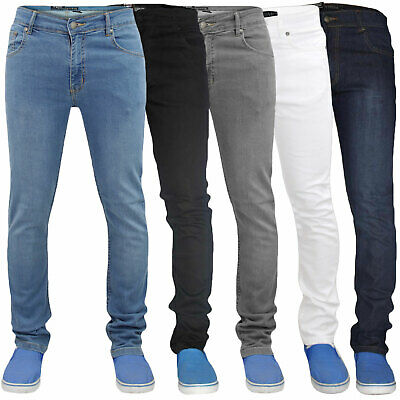 Mens Skinny Jeans Zip Fly Super Stretch Slim Fit Denim Pants Trousers All Waist